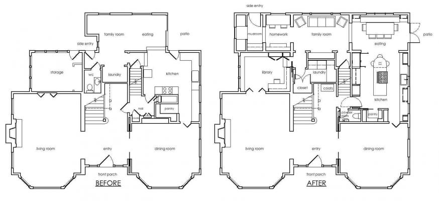 Before and After first floor plans
