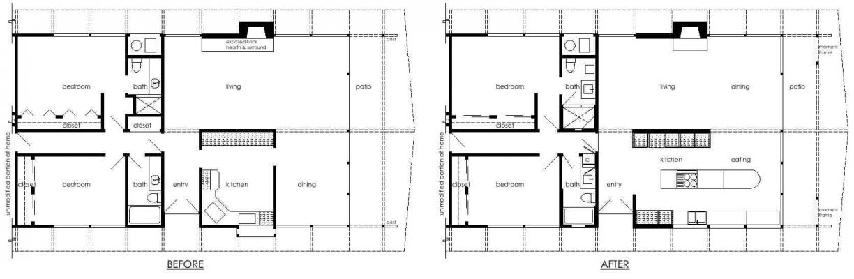 Before and After partial floor plans