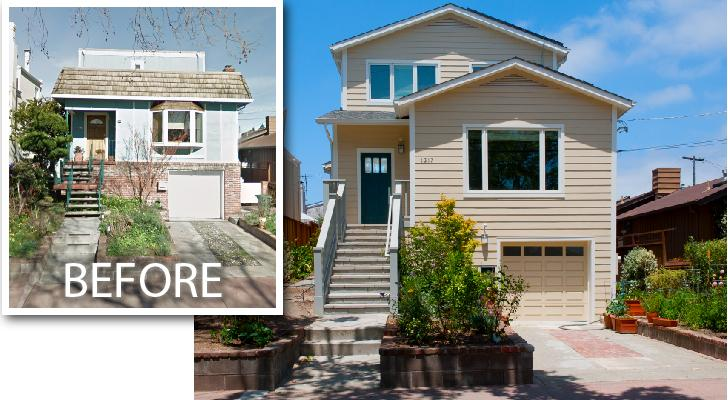 Before and after photos of the front of this home.