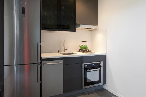 The kitchen area has a stainless steel refrigerator, 2-burner stove, micro-oven and sink with cabinets creates a compact, functional space. This photo is from El Cerrito Micro Apartment designed by Susan L. Wootan