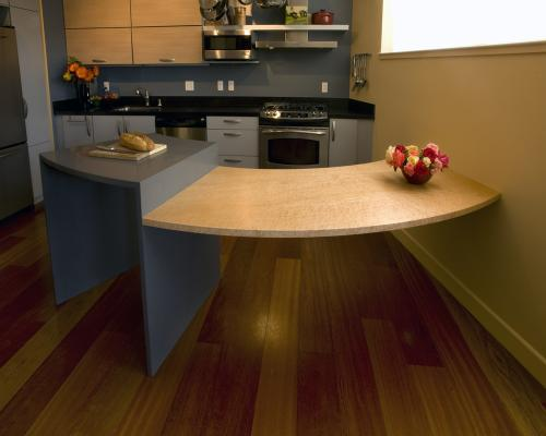 Curved counter & table as viewed from the living area.