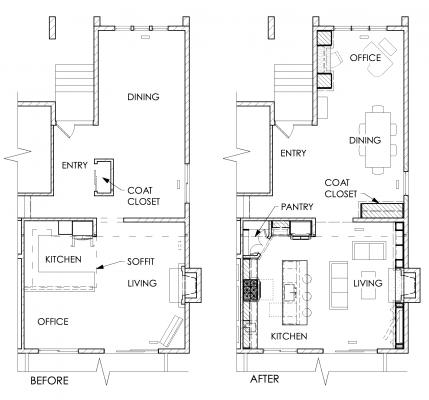 Before and after floor plans showing the transformation of the space.