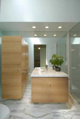 Master Bathroom floating cabinetry.