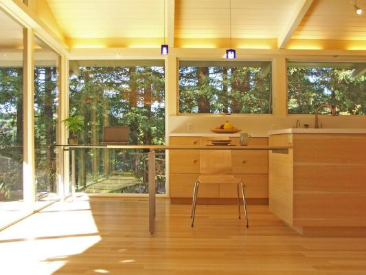 View from the dining room through the kitchen and into the landscape.