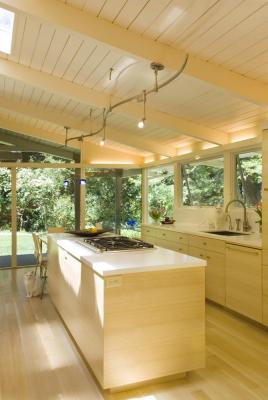 View from the entry through the Kitchen & into the Landscape.